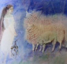 J with Sheep and a Cat (SOLD)